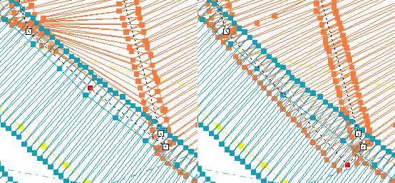 Schlechter Satinstich (links) vs. guter Satinstich (rechts), der am Ende unter nachfolgenden Stichen versteckt wird